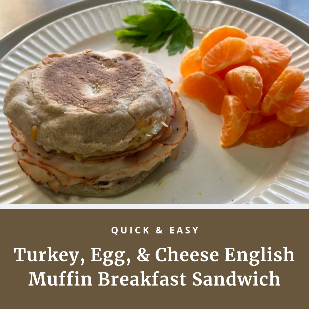 quick and easy turkey, egg, and cheese english muffin breakfast sandwich