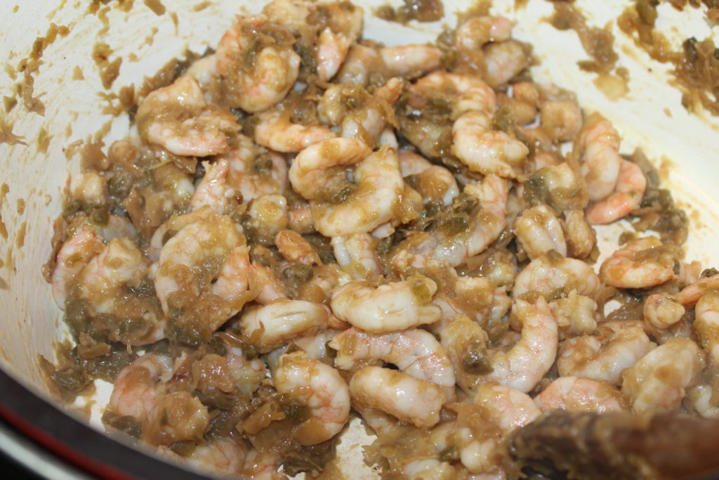 Browned onions, cooked shrimp