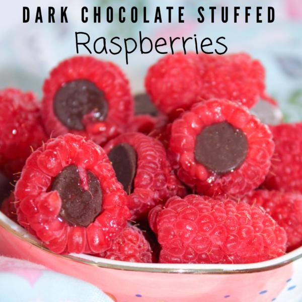 Dark chocolate stuffed raspberries